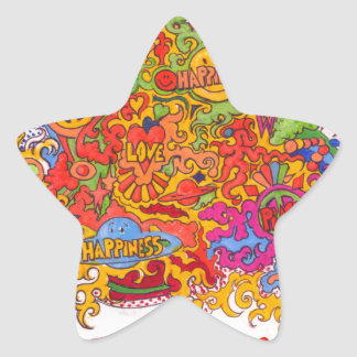 Peace, Love & Happiness Star Sticker