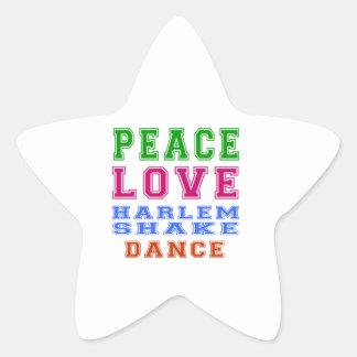 Peace Love Harlem Shake Dance Star Stickers