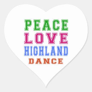Peace Love Highland dancing Heart Sticker