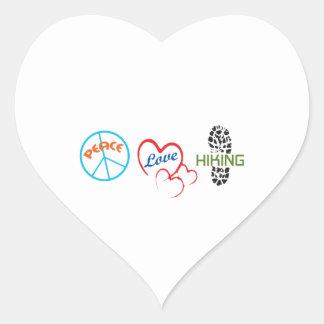 Peace Love Hiking Heart Stickers
