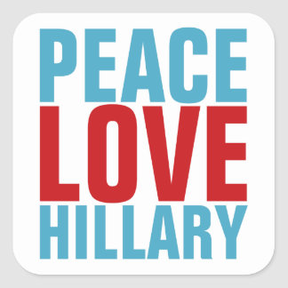 Peace Love Hillary Square Sticker