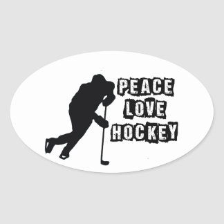 Peace, Love, Hockey Oval Sticker