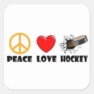 Peace Love Hockey Square Stickers