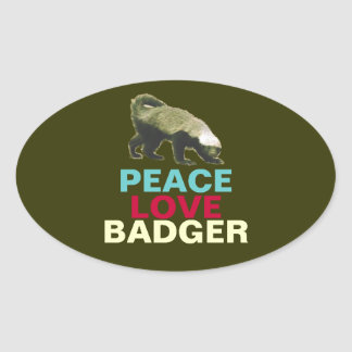Peace Love Honey Badger Oval Stickers