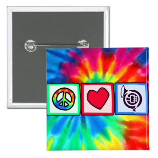 Peace, Love, Horns 15 Cm Square Badge