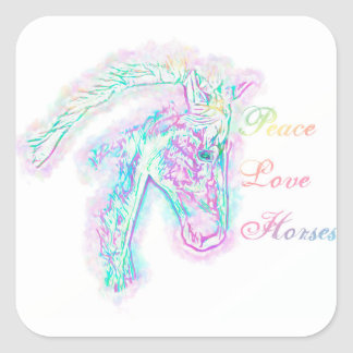 Peace Love Horses Square Sticker