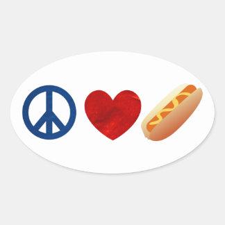 Peace Love Hotdog Oval Sticker