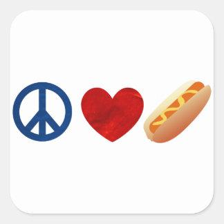 Peace Love Hotdog Square Sticker
