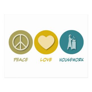 Peace Love Housework Postcard