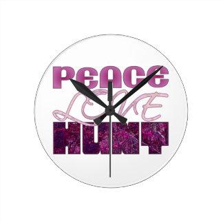 Peace Love HUNT Pink Camo Mossy Woods Hunter Round Clock