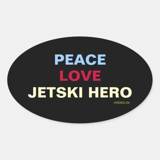 Peace Love Jetski Hero Oval Sticker