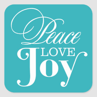 PEACE LOVE JOY   HOLIDAY ENVELOPE SEAL SQUARE STICKERS