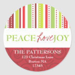 Peace Love Joy Polka Dots & Stripes Address Label Round Sticker