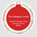 Peace love joy red custom Christmas address label Round Stickers
