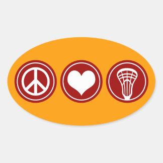 Peace Love Lacrosse design Oval Sticker