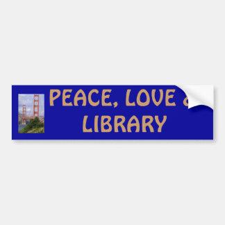 PEACE LOVE & LIBRARY BUMPER STICKER