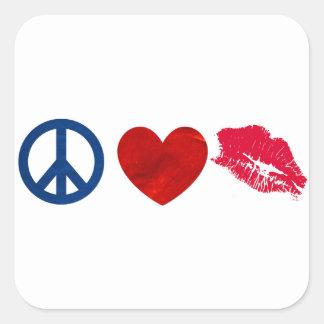 Peace, Love, Lipstick Kiss Square Sticker