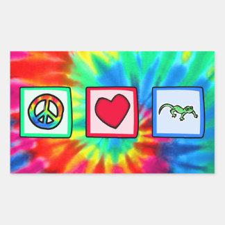 Peace, Love, Lizards Rectangle Stickers