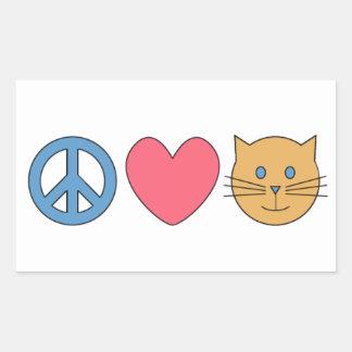 Peace, Love, Meow Rectangular Sticker!