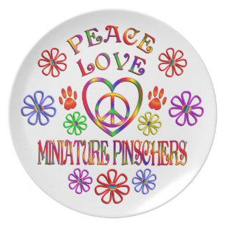 Peace Love Miniature Pinschers Plate