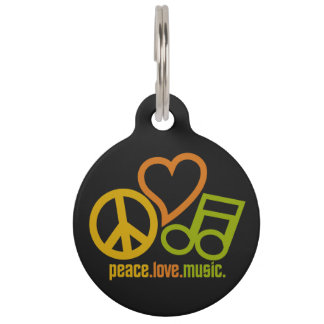 Peace Love Music custom pet tags