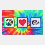 Peace, Love, Music Rectangular Sticker