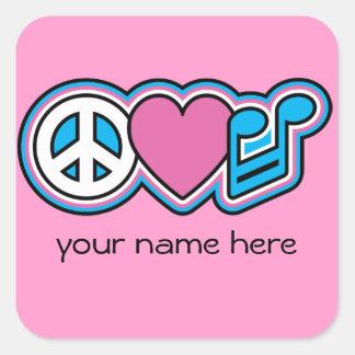 PEACE LOVE MUSIC SQUARE STICKER