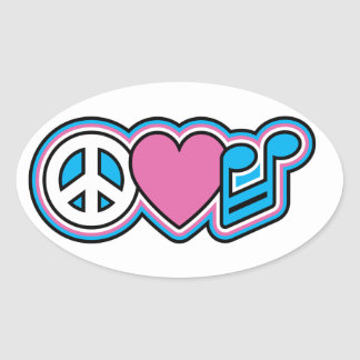 PEACE LOVE MUSIC Symbols Oval Sticker