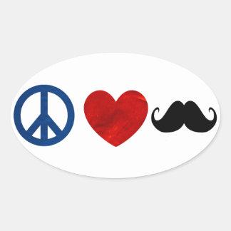 Peace, Love, Mustache Oval Sticker