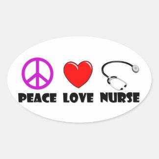 Peace Love Nurse Oval Sticker