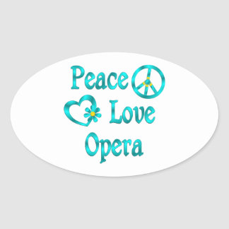 Peace Love Opera Oval Sticker
