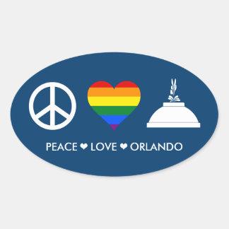 PEACE LOVE ORLANDO OVAL STICKER