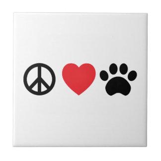 Peace Love Paw Ceramic Tile