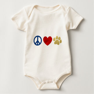 Peace Love Paw Print Baby Bodysuit