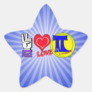 PEACE LOVE Pi 3.1415 Star Sticker