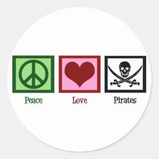 Peace Love Pirates Classic Round Sticker