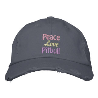 Peace, Love, Pitbull, Anti BSL Embroidered Hat