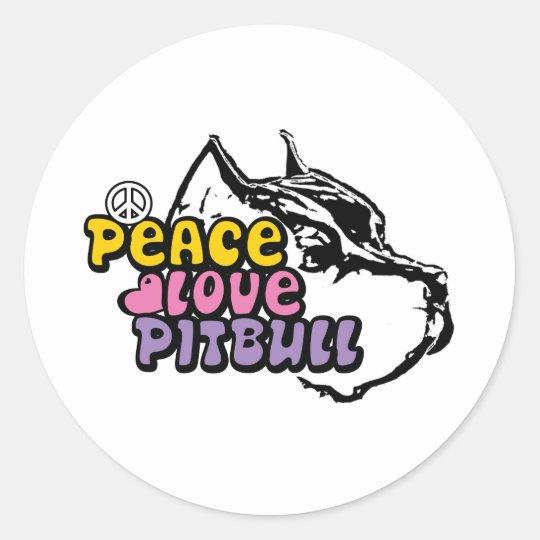 Peace Love Pitbull, Anti BSL Round Sticker