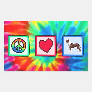Peace, Love, Pitbulls Rectangular Stickers