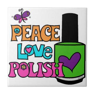 Peace, Love, & Polish Small Square Tile