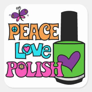 Peace, Love, & Polish Square Sticker