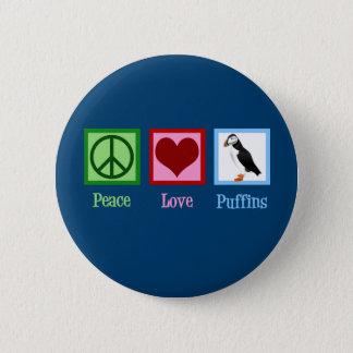 Peace Love Puffins 6 Cm Round Badge