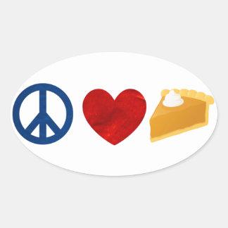 Peace, Love, Pumpkin Pie Oval Sticker