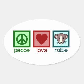 Peace Love Rattie Oval Sticker