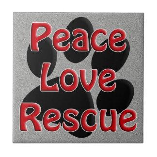 Peace Love Rescue Pet Adoption Small Square Tile