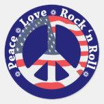 Peace, Love, Rock n Roll Round Sticker