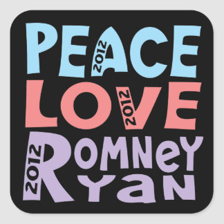 peace love Romney Ryan Square Sticker