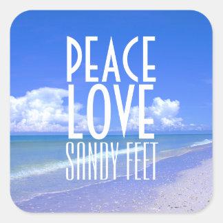 Peace, Love, Sandy Feet Stickers