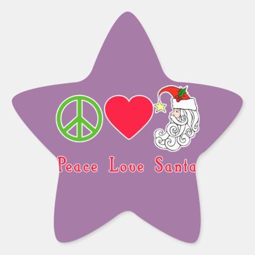 Peace Love Santa Claus Christmas Tshirt Stickers