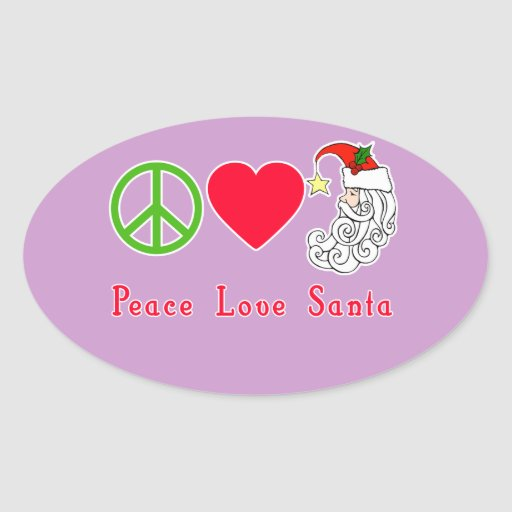 Peace Love Santa Claus Christmas Tshirt Sticker